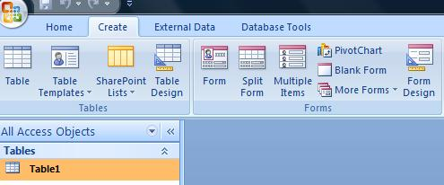 Forms group of the Create Tab