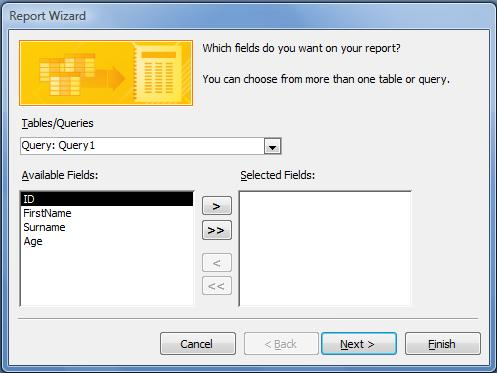 Select report data source and fields