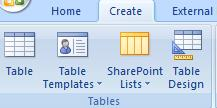 TABLES group of CREATE tab